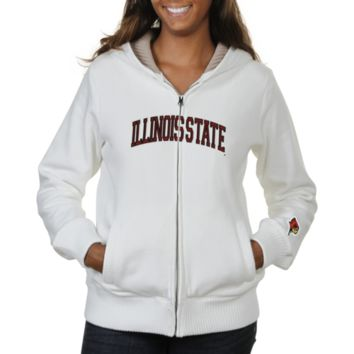 Illinois State Redbirds Ladies Huddle Full Zip Sherpa-Lined Hooded Jacket - White