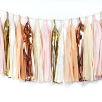 Cotton Candy Tassel Garland - Peach, Blush Pink, Gold Tissue Paper Tassel Garland - Wedding Garland // Bridal Shower // Nursery Decor