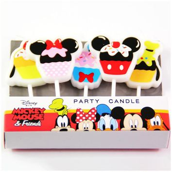5pcs/lot Disney Minnie Mickey Mouse candle Donald Duck Cartoon Cake Candles Kids Birthday Party Decoration Cupcake candle