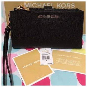 MICHAEL KORS JET SET TRAVEL MK SIGNATURE PVC DOUBLE ZIP WALLET WRISTLET BLACK