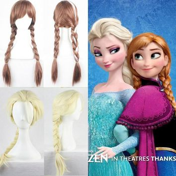 Cool Hot Sale 2018 Elsa Anna Wig Ponytail Long Weaving Micro Braided Wigs Cosplay Adult Fluffy Cartoon Hair For HalloweenAT_93_12