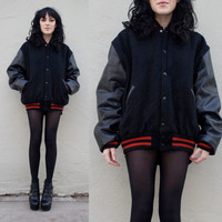 Black Varsity Jacket w. Leather Sleeves
