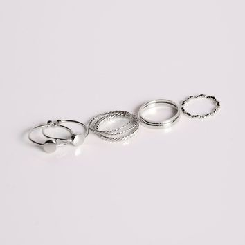 Iced Out Ring Set - Silver