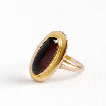 Antique 10k Gold Garnet Cabochon Ring - Vintage Early 1900s Size 3 1/2 Red Oval Genuine Gemstone Fine January Birthstone Jewelry