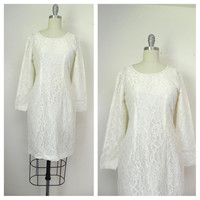 Vintage 1960s White Lace Dress