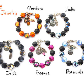 Halloween Bracelets, Made With Genuine Swarovski® 12mm Crystals, Assorted Styles and Colors, Cat, Witch, Broomstick, Spooky House, Arm Candy