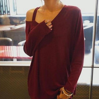 FASHION ROUND NECK STRAPLESS LOOSE T-SHIRT