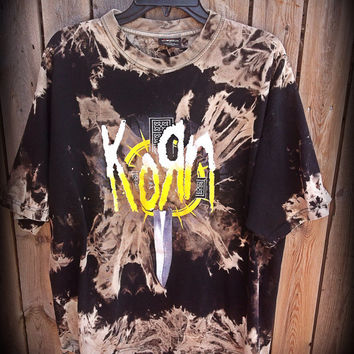 Bleached, tie dyed unisex xlarge Korn ...one of a kind t shirt