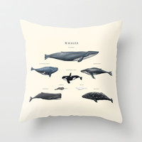 W H A L E S Throw Pillow by Sam Lyne