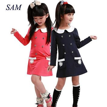 Baby Girls Dress 2017 College Spring Autumn New Style Double Lapel Long Sleeve Pocket Cotton Dress