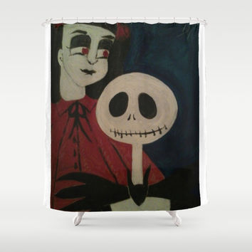 Jack Skellington and Girl Shower Curtain by Kathead Tarot/David Rivera