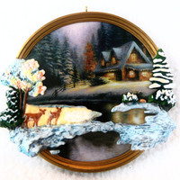 "Hallmark Keepsake Ornament NIB ""Deer Creek Cottage"" Thomas Kinkade, Painter of Light - Handcrafted & Brass - Christmas Holiday Deer Decorate"