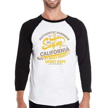 Authentic Summer Surfing California Mens Black And White Baseball Shirt
