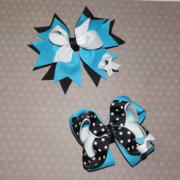 Set of 2: Back to School Uniform Spiked Hair Bow and Twisted Boutique Hair Bow - Turquoise, Black, and White