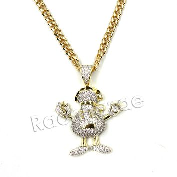 Hiphop Iced Out Gangster Emoji Brass Pendant W/ 5mm 18-30 inches Cuban Chain
