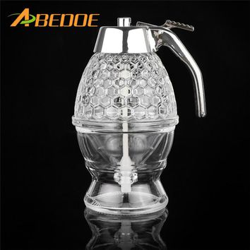 ABEDOE 200ML Honey Dispenser Jar Container Cup Juice Syrup Kettle Kitchen Bee Drip Stand Holder Portable Acrylic Storage Pot