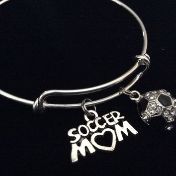 Soccer Mom Crystal Soccer Ball Expandable Silver Charm Bracelet Adjustable Sports Bangle