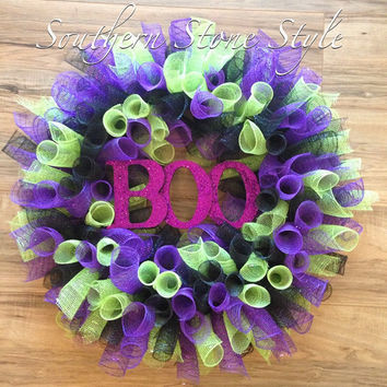 Modern Halloween wreath- purple and lime green BOO wreath- Halloween party decorations