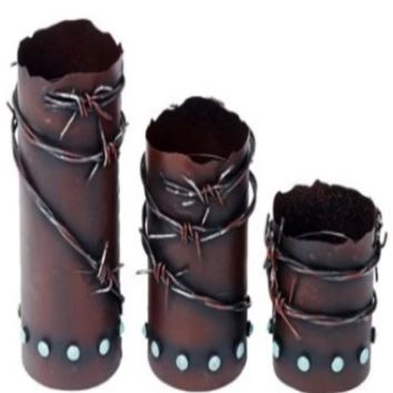 Cowgirl Kim Rustic Barb Wire Metal Candle Holder