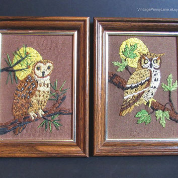 Vintage Crewel Owl Needlepoint Embroidery Tapestry Wall Hangings, Wood Framed