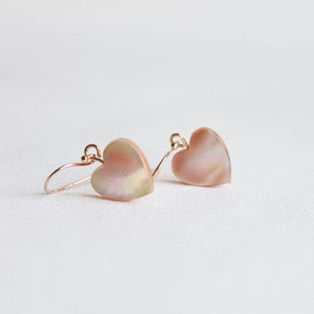 Sterling Silver Pink Heart Shell VERMEIL Rose gold Earrings, Everyday Jewelry with free gift box, romantic, love, tiny