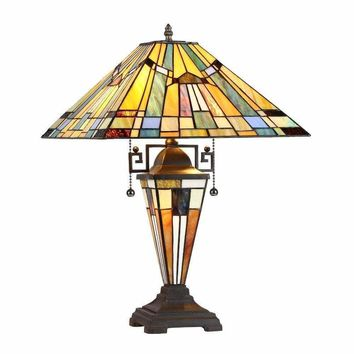 "Kinsey, Tiffany-Style 3 Light Mission Double Lit Table Lamp 16"" Shade"