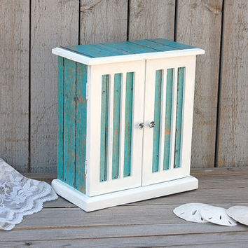 Jewelry Box, Jewelry Armoire, Shabby Chic, Rustic, Beach, Decoupage, Turquoise, Aqua, Tiffany Blue, White