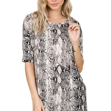 Snakeskin Animal Print Tunic Top