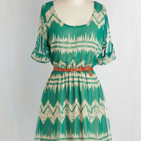 Folk Art Mid-length Short Sleeves A-line Mountain Dwelling Dress
