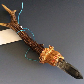 ARCADIA WAND Naturally Shed Roe Antler and Quartz Crystal