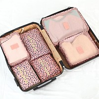 6 Piece Leopard Punch Packing Cube Set