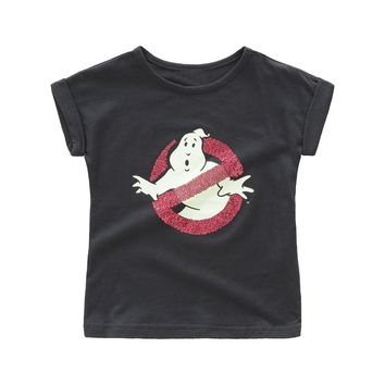 2018 girls summer Ghostbusters cotton black t shirt kids tops children Casual clothes with sequins print T-shirt for toddler