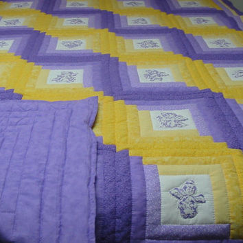 New Twin Quilt, Log Cabin, Angels, Purple & Yellow, Hand quilted