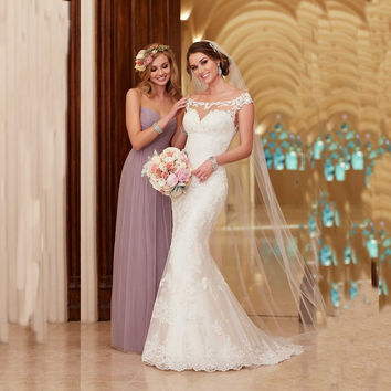 2016 New Arrival Design Lace Mermaid Wedding Dress Cap Sleeve Sweep train backless wedding gown