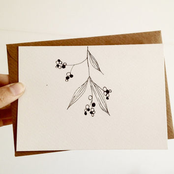 Hand Drawn Christmas Card, Mistletoe Card in black and white with kraft envelope, OOAK
