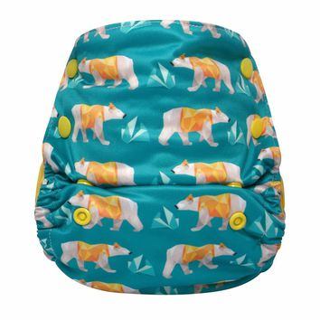 Hey Polar Bear!JinoBaby Newborn Cloth Diaper - One Size AIO Bamboo Care for Babies