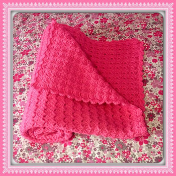 Baby Crib Soft Large Blanket, MANY COLORS boy or girl Baby Shower Gift, Pink Hand Crochet Afghan (Bubblegum Pink Shown) Nursery Decor