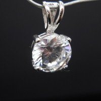 Small Cubic Zirconia CZ Pendant Sterling Silver 7.5mm -