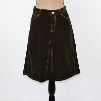 Dark Brown Skirt Corduroy Skirt A Line Midi Skirt Womens Medium Size 8 Skirt Casual Country Western Top Stitching the GAP Womens Clothing