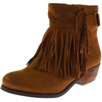 Not Rated Womens Captain Country Faux Suede Fringe Ankle Boots