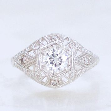 The Bombe Antique Filigree and Moissanite Ring