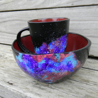 Galaxy Breakfast Set//Cereal Bowl and Coffee Mug Set//Astronomy Theme//Handpainted Stars//Christmas Gift