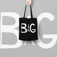 Black Tote Bag Canvas Funny Typhography Totes  Big Bag Bang - Market Bag Canvas - Printed Tote Bag Hand Drawn - Quote Tote Bag