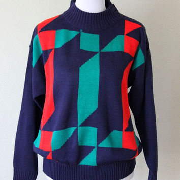 Vtg Geometric Nordic Sweater Bold red green navy Acrylic Knit Jumper Women's Men's Unisex Size Large
