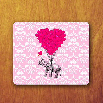 Elephant Funny Mouse Pad Pink India Pattern Beautiful Abstract Heart  Mat Office Deco Desk Word Pad Personalized Pad Gift Personalized mat