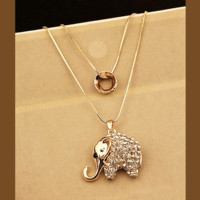 Elephant Rhinestone Double Chain Necklace | LilyFair Jewelry