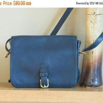 ONETOW ON SALE Rare NYC Coach Navy Blue Leather Medium Saddle Pouch - Made in New York City U