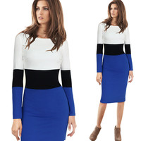 Casual Color Block Long Sleeve Bodycon Mini Dress