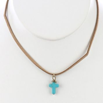 Turquoise Natural Stone Cross Pendant Necklace