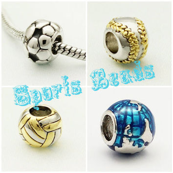Back to School Baseball Volleyball Football Soccer Sports Bead f/ Charm Bracelet